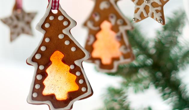 Glas-in-lood kerstboompjes