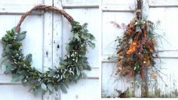 Kerstkransen en kerstdecoraties maken met materiaal uit de tuin