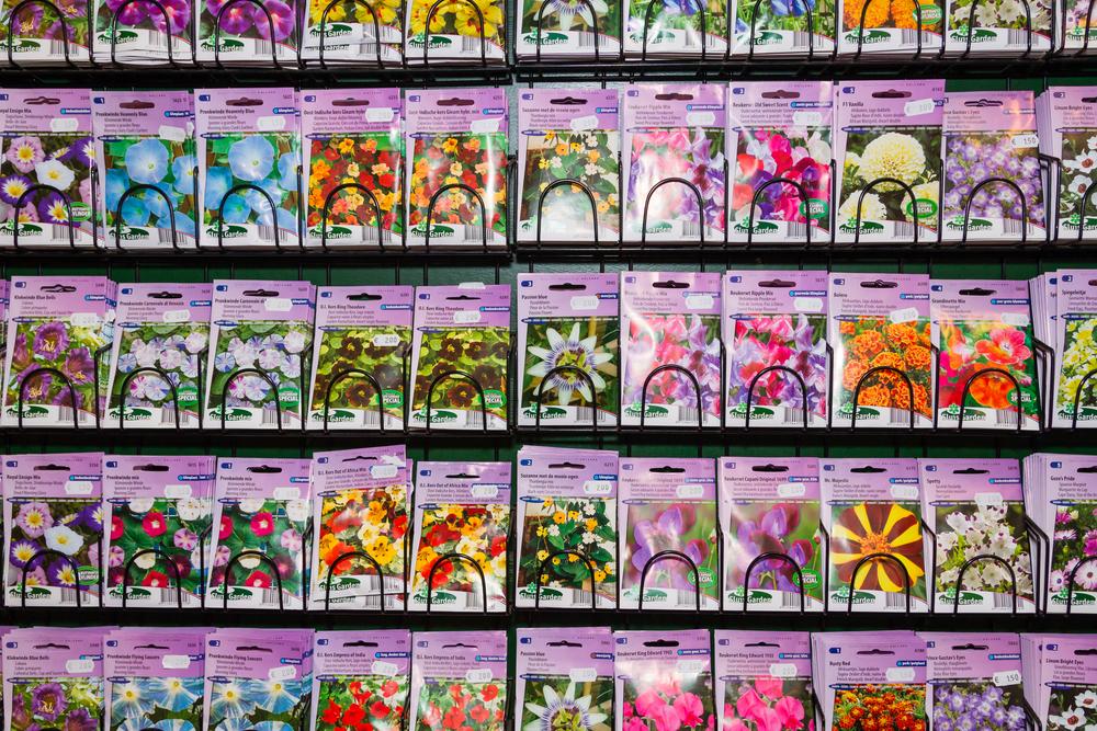 tuincentrum, zaad, bloemen, zaadzakjes, tuinseizoen, laurence machiels