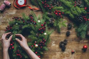 kerstkrans, decoratie, kerstmis